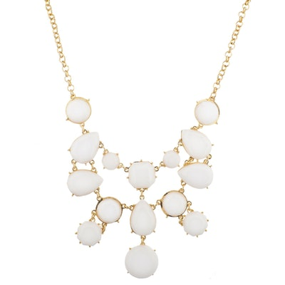 Lux Accessories Gold Tone White Acrylic Geo Stone Waterfall Statement Necklace