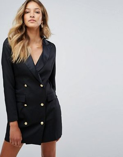 Missguided Tux Dress In Black