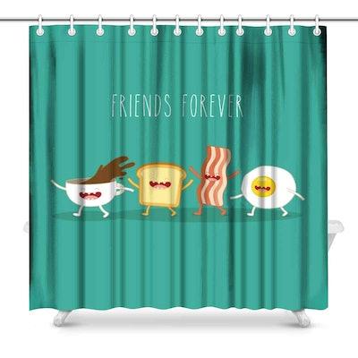 InterestPrint Funny Breakfast Food Shower Curtain