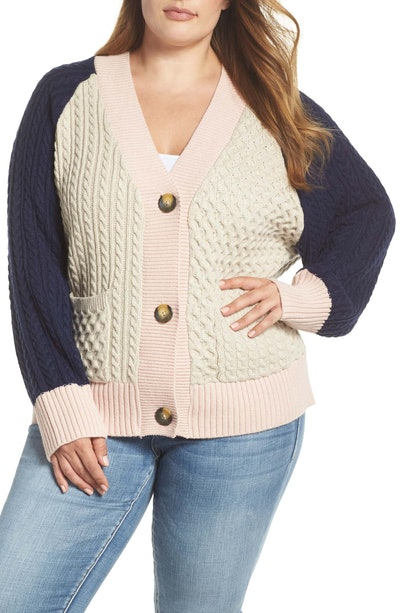 Colorblock Cable Knit Button Cardigan