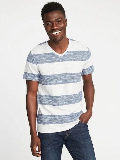 Striped Slub-Knit V-Neck Tee for Men