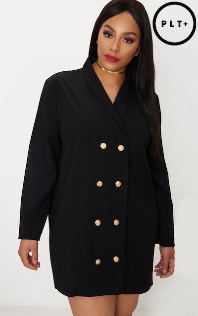 Plus Black Gold Button Oversized Blazer Dress