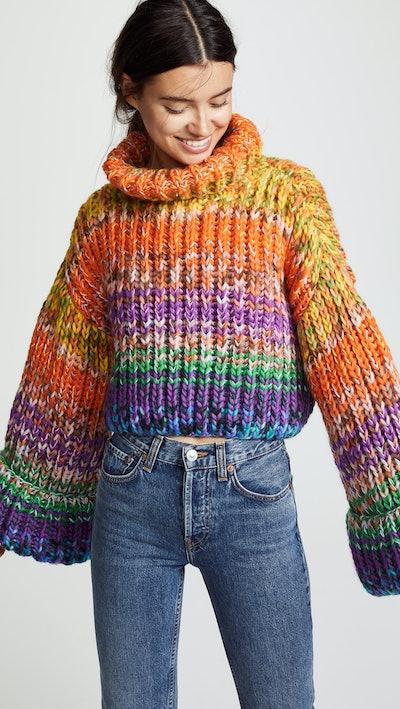 Freddy Cropped Hand Knit Kimono Sweater