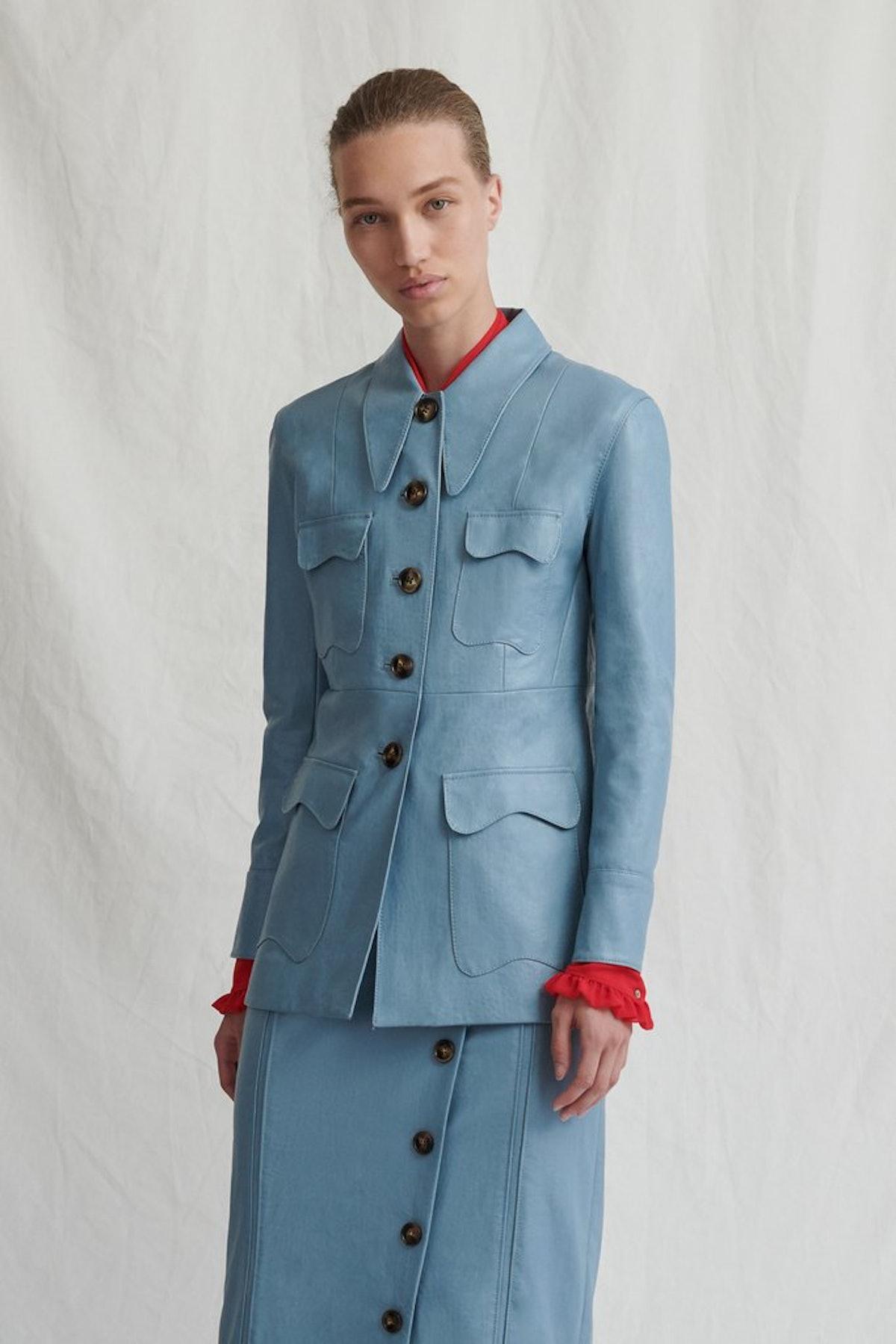 Olivia Blue Faux Leather Jacket