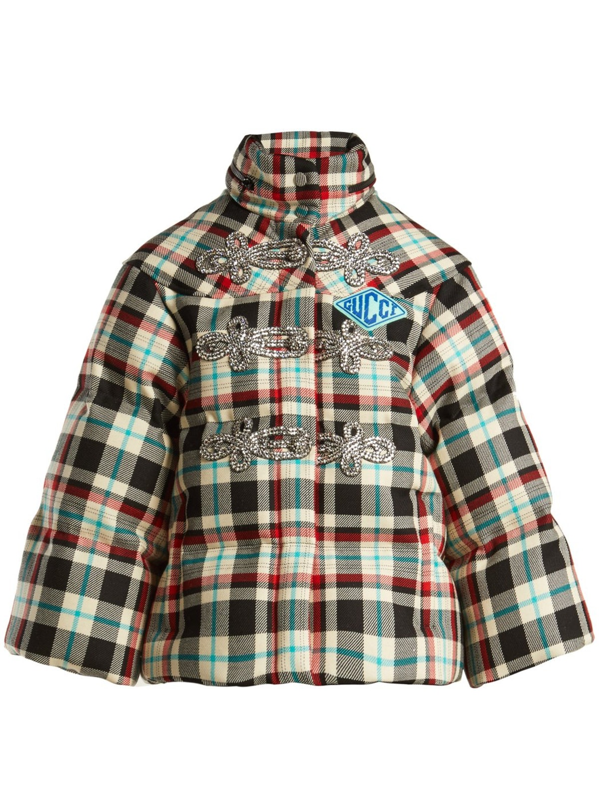 Embellished Tartan Wool Down Jacket
