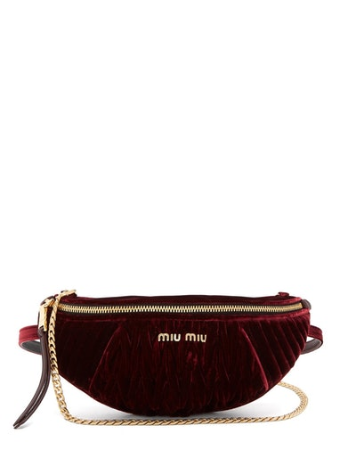 Quilted-Velvet Belt Bag