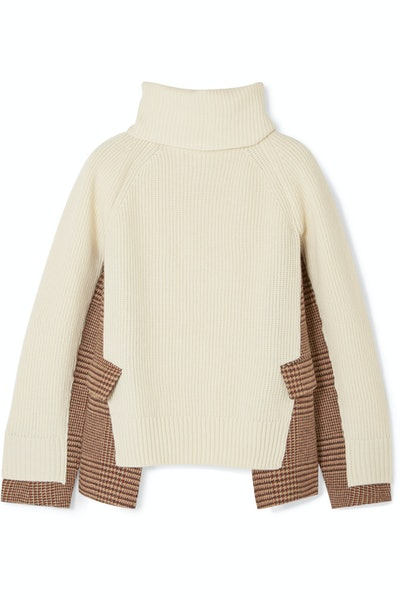 Knitted Wool And Checked Tweed Turtleneck Sweater