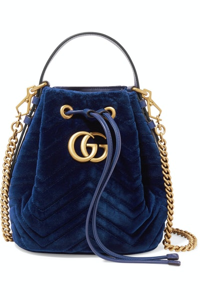 GG Marmont Leather-Trimmed Quilted Velvet Bucket Bag
