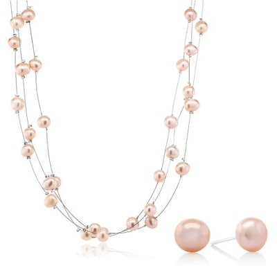 Pink Cultured Freshwater Pearl Necklace Earrings Set 18""