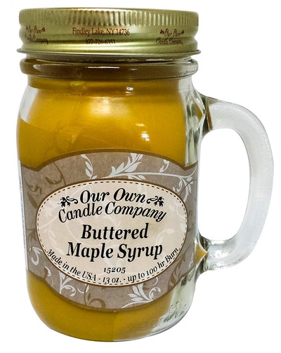 Our Own Candle Company Buttered Maple Syrup Scented 13-Ounce Mason Jar Candle