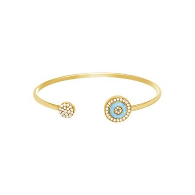 Lesa Michele Genuine Cubic Zirconia Lab-Created Opal Evil Eye Cuff Bangle in Gold over Sterling Silver