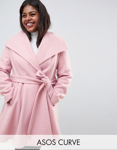 Curve Waterfall Collar Coat With Tie Belt
