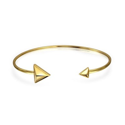 Gold Plated 925 Silver Stacking Open Arrow Cuff Bracelet