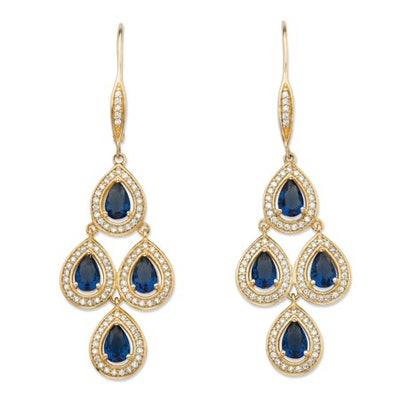 Pear-Cut Simulated Blue Sapphire and Cubic Zirconia Halo Chandelier Earrings