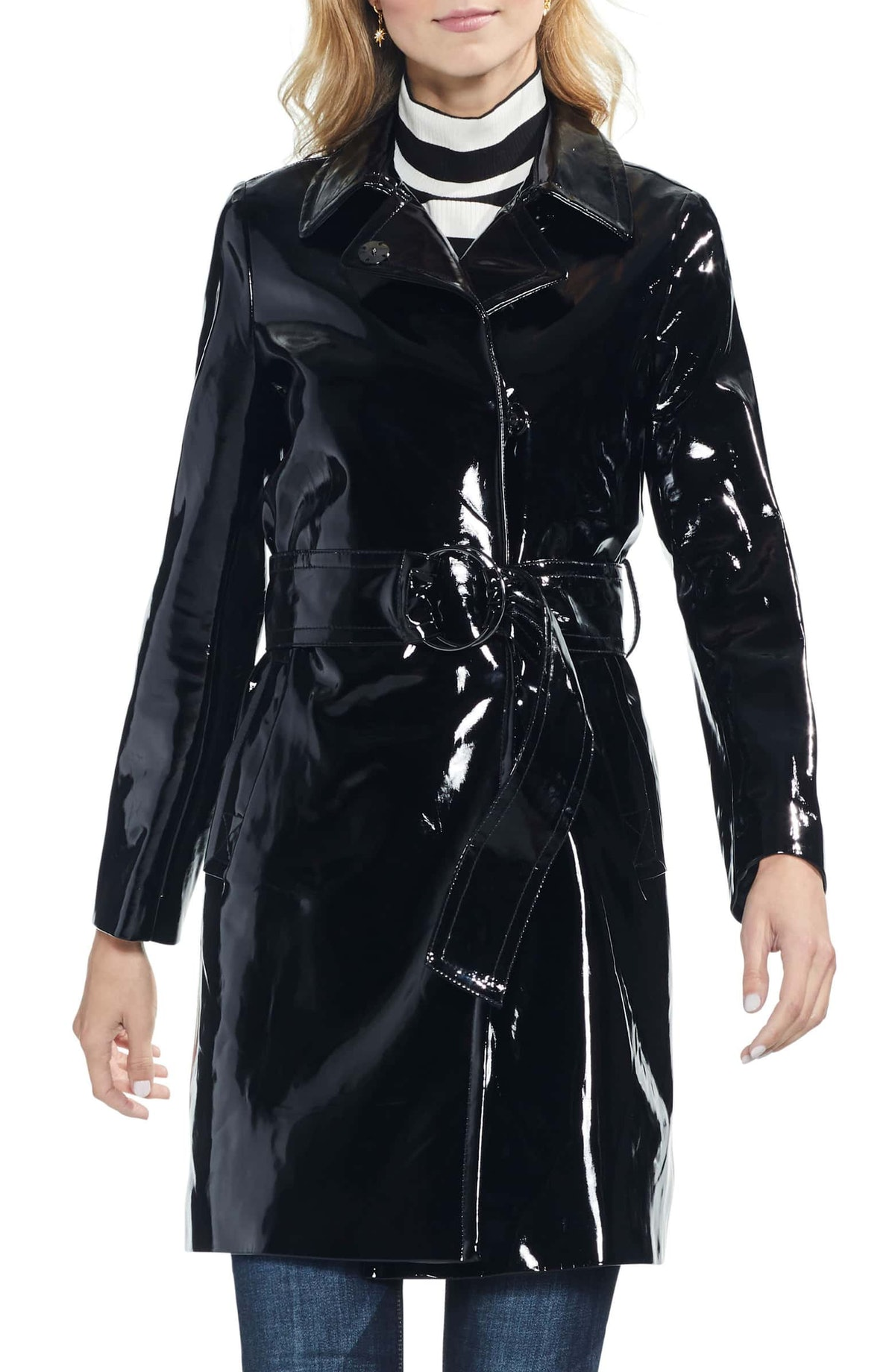 Faux Patent Leather Belted Jacket