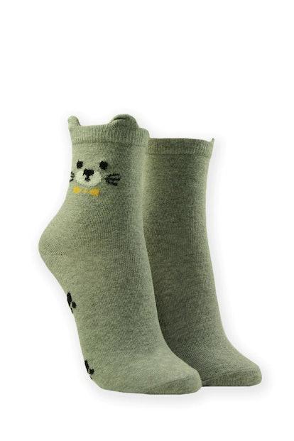 Cat Graphic Crew Socks