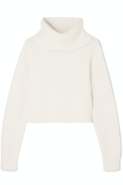 Cropped Ribbed Wool-Blend Turtleneck Sweater