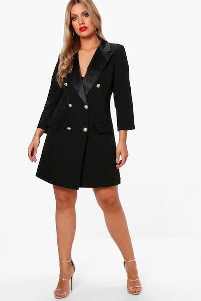 Plus Button Tuxedo Dress