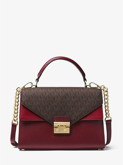 Sloan Color-Block Leather and Logo Satchel