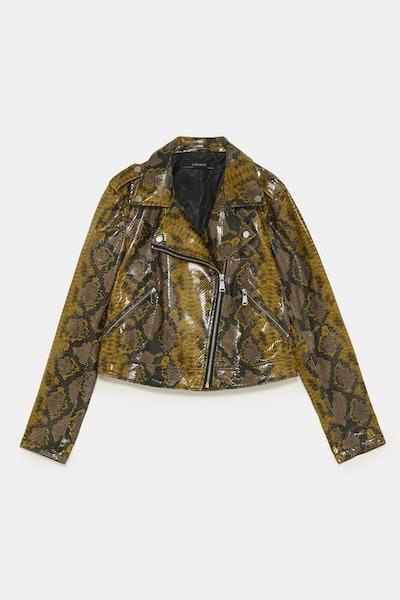 Snakeskin Printed Biker Jacket