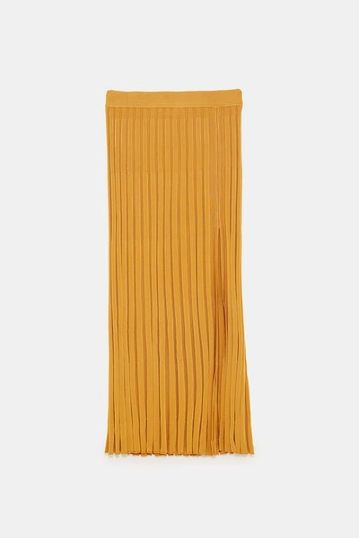 Ribbed Skirt With Vent