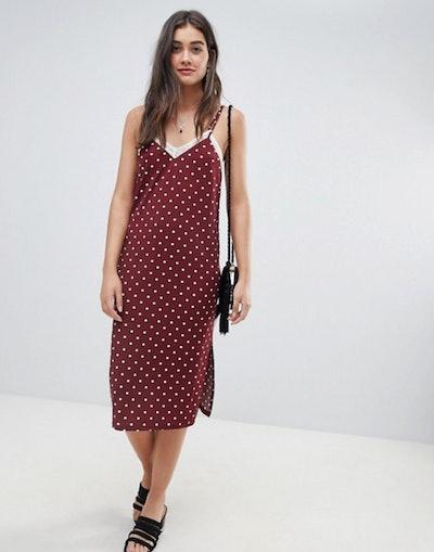 Polka Dot slip Dress With Lace Insert