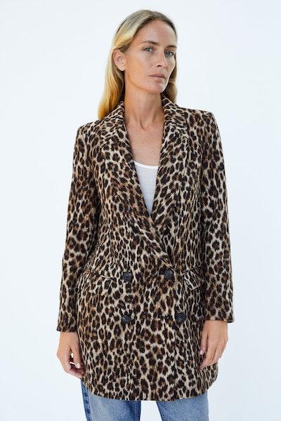 Leopard Print Jacquard Coat