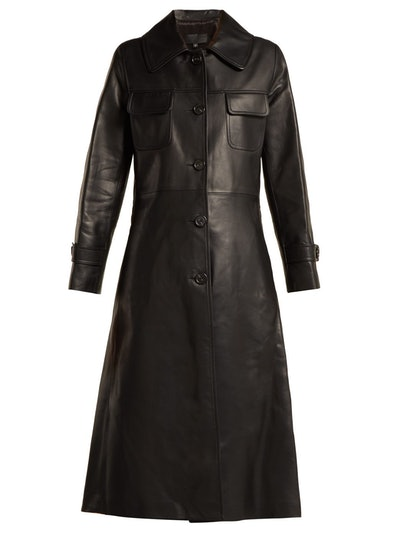 Point-Collar Leather Trench Coat