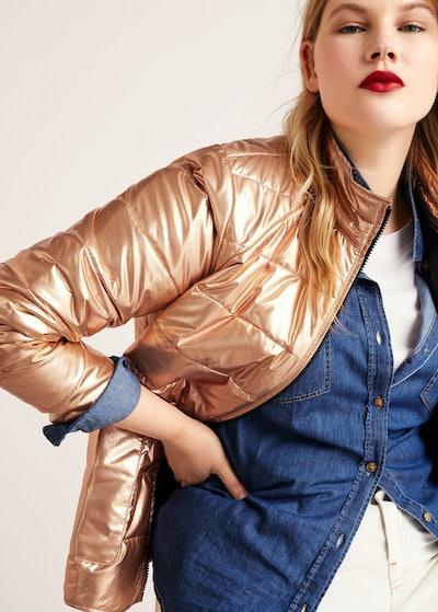 Plus Metallic Puffer Jacket