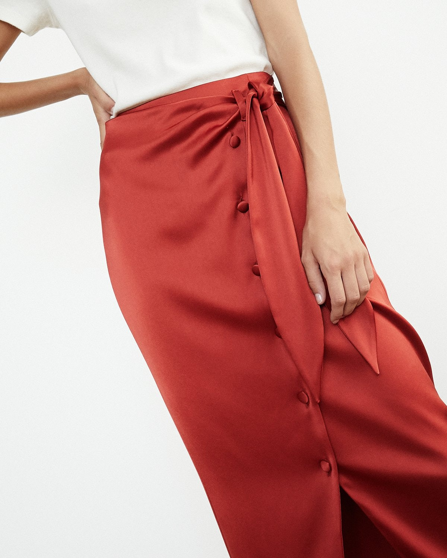 Red Satin Wrap Skirt