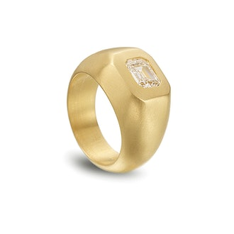 Emerald-Cut Diamond Dome Ring
