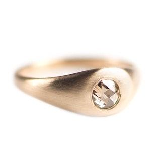 Champagne Diamond Signet Ring