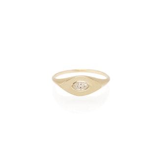 14K Marquis Diamond Signet Ring