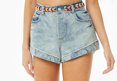 Braided Trim Denim Shorts