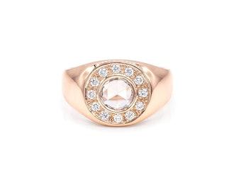 Rose Cut Diamond Signet Ring