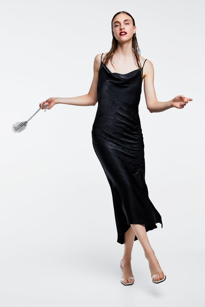 Draped Satin Dress