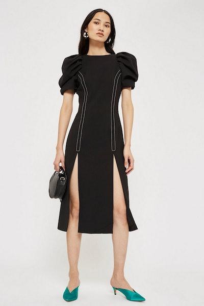 Style Mafia Puff Sleeve Midi Shift Dress