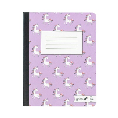 """Composition Notebook 7.5"""" x 9.8"""" College Ruled Purple Unicorn"""