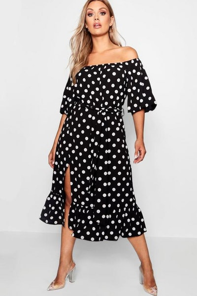 Plus Woven Off Shoulder Polka Dot Midi Dress