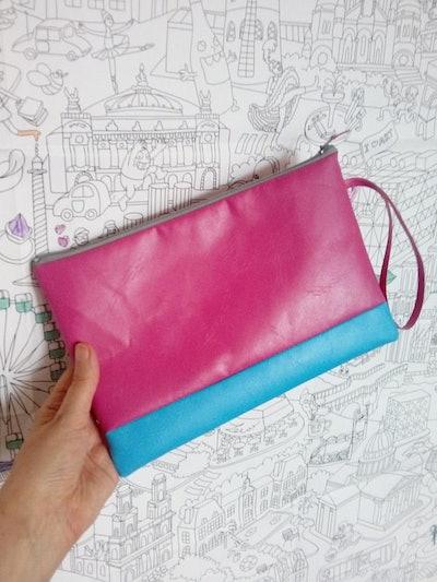 Recycled clutch bag evening bag holiday bag handbag pink bag pink and blue