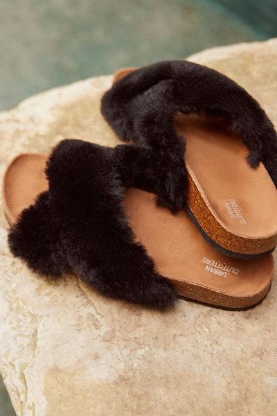 Crossed Faux Fur Slide
