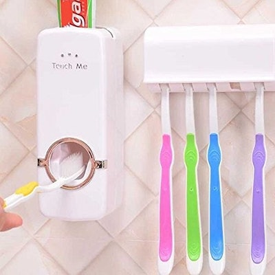 Toothbrush Holder And Toothpaste Dispenser