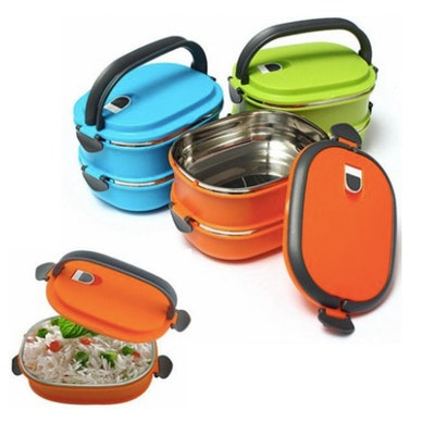 Girl12Queen 2/1 Layer Stainless Steel Insulated Bento Lunch Box