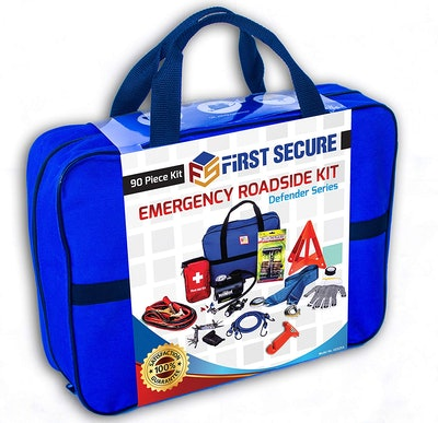 First Secure 90-Piece Car Emergency Kit