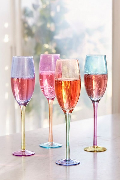 Assorted Colorblock Flute Glass - Set of 4