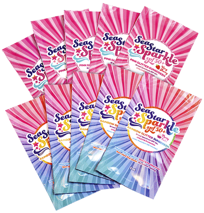 10 SEASTAR SPARKLE SPF50+ TRAVEL PACKETS / MIXED SET – PARTY CAKE & VERY BERRY – 0.5 ML. EACH