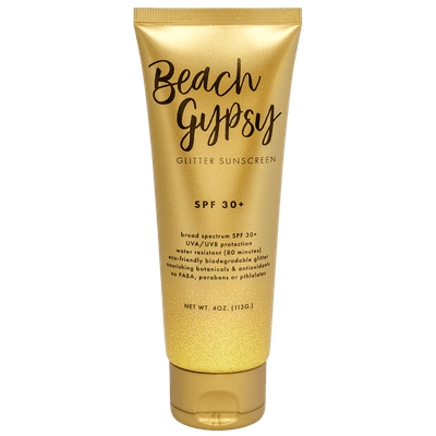 BEACH GYPSY SPF 30+ WITH GOLD GLITTER – 4 OZ.