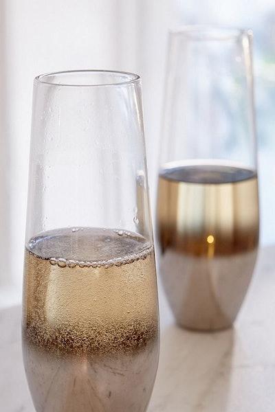 Metallic Ombre Stemless Flute Glass - Set Of 2