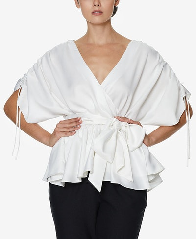 INSPR-D By Natalie Off Duty Ruffle Wrap Top