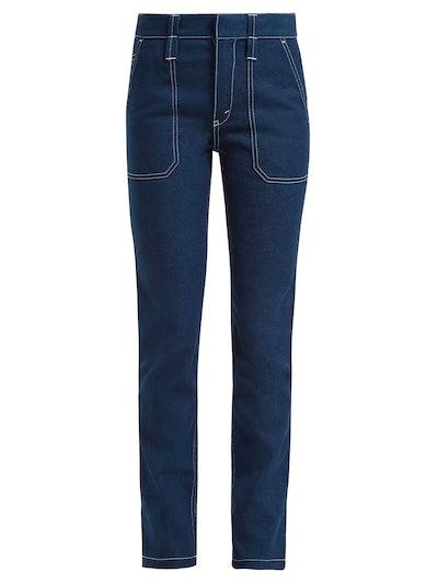 Contrast-Stitch Stretch-Denim Jeans